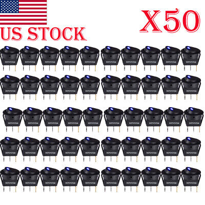 50pcs ROCKER SWITCHES 12V ROUND TOGGLE ON OFF CAR SNAP IN SWITCH Blue LED