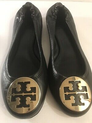 416283f4206 TORY BURCH LOGO T THERESE Ballet Flats Black Suede Closed Toe Soft ...