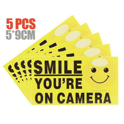 5Pcs Smile You're On Camera Video Alarm Safety Stickers Signs Vinyl Waterproof