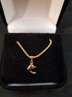 18k Saudi Gold Necklace Dolphin