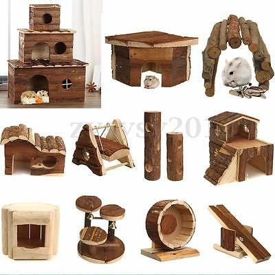 Wooden Wood House Villa Cage Exercise Toys for Hamster Mouse Rat Guinea Pig HOT