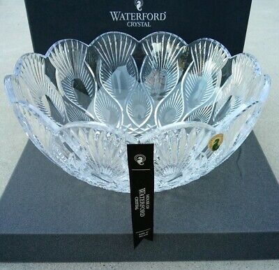 "New House of Waterford Crystal 11"" Scalloped Peacock Bowl NIB"