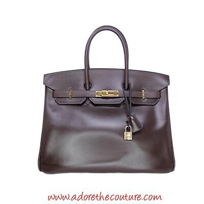 1725ea701b2 HERMES BIRKIN 35 Chocolate Brown Soft Leather Gold Hardware - 2006 J Square