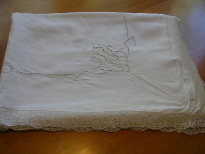 """Antique Victorian Tablecloth Linen & Lace Embroidered 65"""" X 90"""""""