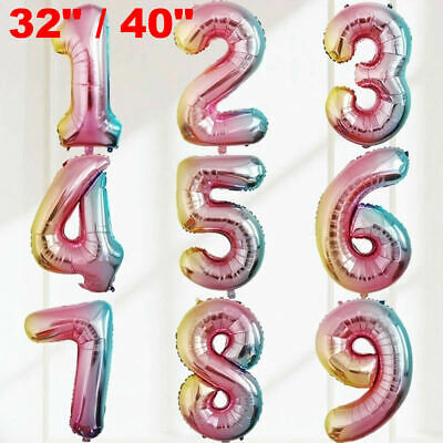 """32"""" Giant Birthday Foil Number Balloon Rainbow Gradient Color Party Wedding Age"""