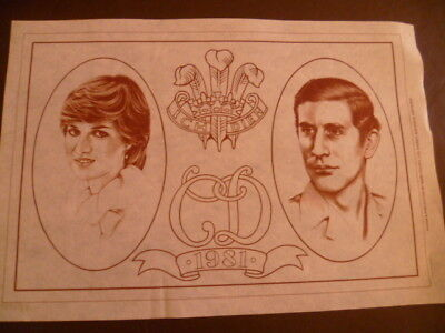 80's Vintage Hobbytex Charles Diana Wedding 1981 Pre-Shaded Picture to Paint