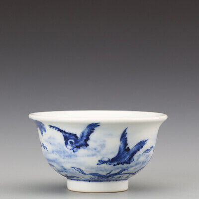 China old antique Porcelain blue white hand painting wild goose bird cup bowl