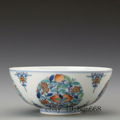 China old antique Porcelain chai kiln doucai hand painting peach bowl cup