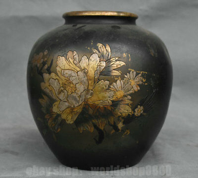 """7.2"""" Rare Old Chinese Red Copper Gilt Dynasty Palace Flower Bottle Tank Jar"""