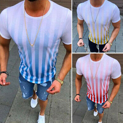 Men Summer Casual Short Sleeve Striped Slim Fit Gym Sports Blouse T-shirt Tops