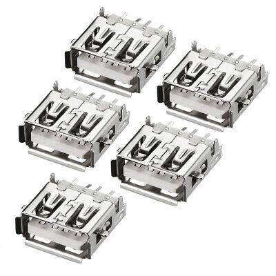 PCB USB Connector A Type Female Jack Back Insert SMT Sinking Plate 5Pcs
