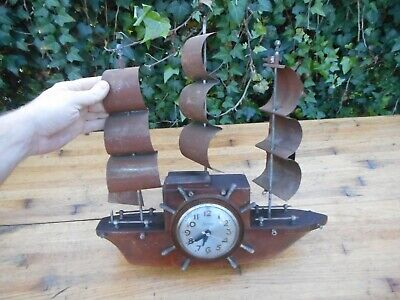 "Vintage Sessions Clock Co. "" Yankee Clipper "" Ship Clock Mantle Shelf Wood"