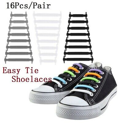 Easy No Tie Rubber Shoe Laces Colored ShoeLaces Trainers Snickers Kids Adults