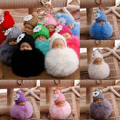Cute Fluffy Pompom Sleeping Baby with Hat Pendant Key Chain Doll Plush Hair Ball