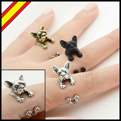 Anillo de Bulldog Frances Ajustable Anillos Negro Plata Regalo Francés French