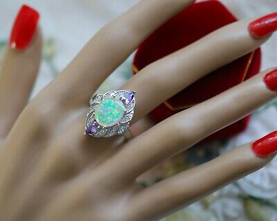 Vintage Jewellery Ring Opal Amethyst And White Sapphires Antique Dress Jewelry