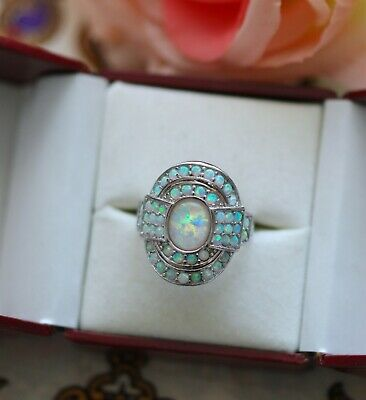 Art Deco Vintage Jewellery Gold Ring Opals Antique Dress Jewelry