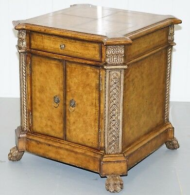 Regency Styled Leather Clad Lion Hair Paw Feet Cupboard Side Lamp End Table