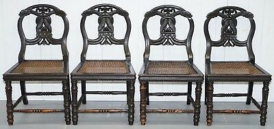 Set Of 4 Circa 1870 Ebonized & Carved Wood Chinese Dragon Chinoiserie Chairs