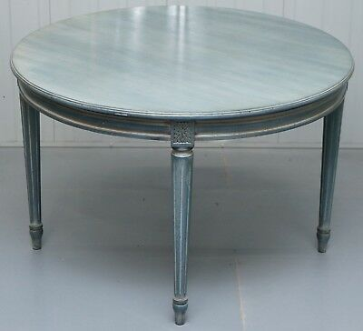 Lovely Vintage Blue Round Dining Occasional Centre Table To Seat Four People