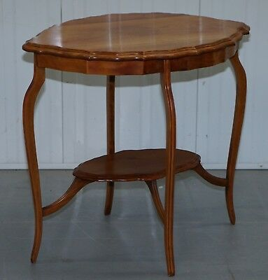 Lovely Decorative Satinwood Occasional Centre Table Scalloped Edge Ornate Legs