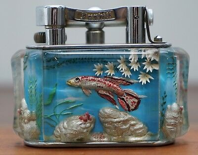 1950's Dunhill Aquarium Oversized Table Lighter Made In England Chrome Red Fish