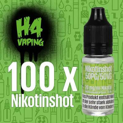 100 x 10ml Nikotin Shot - 100 Shots mit 20mg/ml Nikotinshots Basis Base e-Liquid