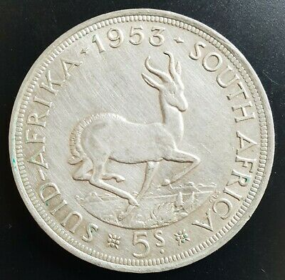 1953 South Africa 5 Shillings Silver Coin..(Hairline Scratches on Coin)...