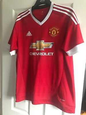 bef8b82c694 Mens Man Utd Shirt Red Home 2015 Adidas Manchester United Large Climacool