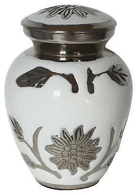 Mini keepsake urn for ashes ,Cremation Funeral Memorial small urn White Flower