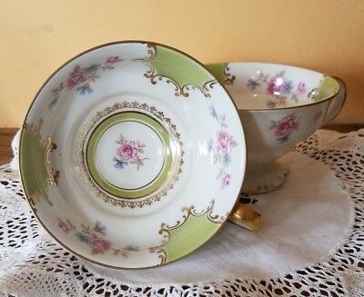 Vintage Mitterteich Bavaria Germany Floral with Green Tea Cups - Set of 2