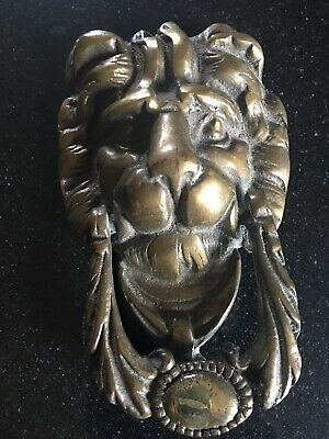Antique Solid Brass Lion Ring Door Knocker