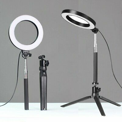 "6"" LED Ring Light with Stand 5500K Dimmable Lighting Kit for Makeup Phone Camera"