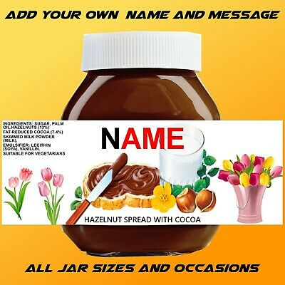 MOTHER'S DAY NUTELLA Personalised/Custom Sticker - Name & Message & All Jar  Size