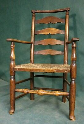18th Century Rush Seat Chair with Elm Frame