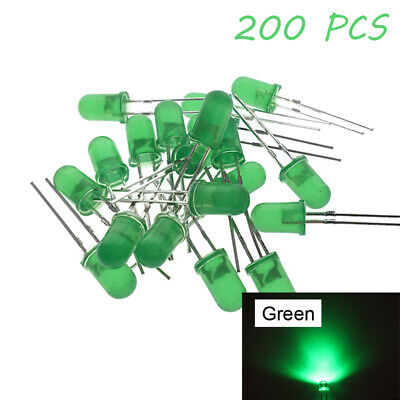 200X LED Diode 5MM Urtal Bright Round Top Emitting Green Wide Angle Light DIY