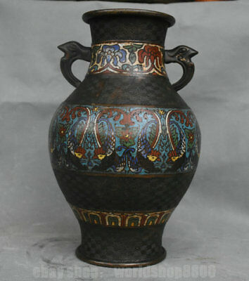 """12"""" Rare Old Chinese Red Copper Painting Dynasty 2 Beast Ear Bottle Tank Jar"""