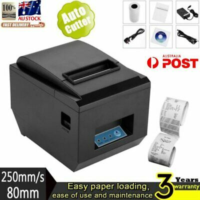 POS Thermal Receipt Printer 80mm Auto Cutter Serial Port/USB/Ethernet 250mm/s @
