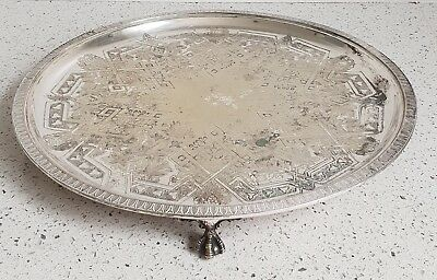 Antique VICTORIAN SHEFFIELD PLATE SALVER / TRAY c1870 OLD Frederick Wilson & Co