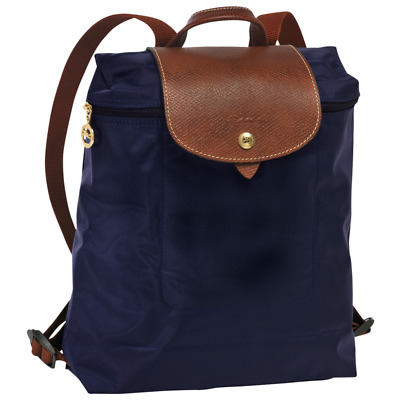 7f193a63245c Longchamp Le Pilage 1699 Regular Navy Nylon Leather Trim Unisex Backpack Bag