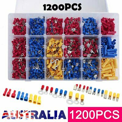 1200PCS Assorted Insulated Electrical Wire Terminal Crimp Port Connector Kit AU^