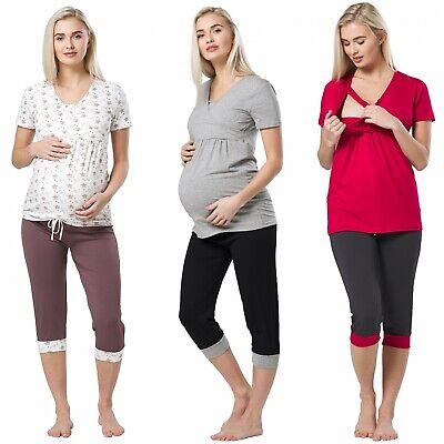 Happy Mama Women's Maternity Nursing Pajama Set Capri Pants Top Nightwear 088p