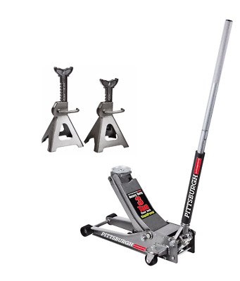 3 Ton Low Profile Floor Jack And A Set Of Jack Stands