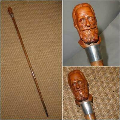 Antique Tiger Wood Walking Stick Featuring Moulded Handle Of George Bernard Shaw