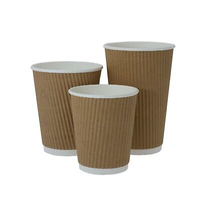100 x Brown Kraft Cups + Lids Paper Ripple 3 Ply Insulated Tea Coffee Hot Drinks