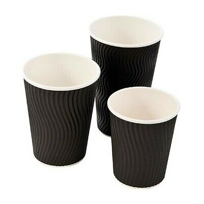 100 x Black Kraft Cups + Lids Paper Ripple 3 Ply Insulated Tea Coffee Hot Drinks