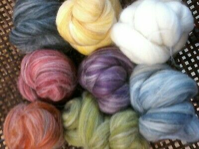 Wool Merino & Alpaca Assortment  Pack.100gms Tops Roving. spin, felt, knit