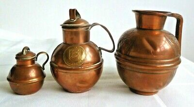 Vintage Three Copper Jugs (one stamped Guernsey)