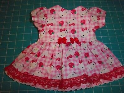 """Fits 14""""15"""" Bitty Baby Twin doll clothes Hello Kitty dress diaper 2 pc set"""