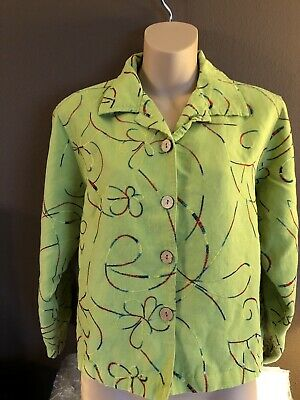 Ladies Studio Works Petite Green Rainbow Embroidered Button Up Cropped Jacket PL
